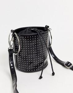 Черная сумка-мешок через плечо с заклепками Yoki Fashion-Черный