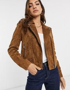 Коричневая байкерская куртка из натуральной замши Vero Moda-Коричневый