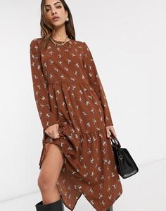 Свободное платье миди рыжего цвета Vero Moda-Мульти