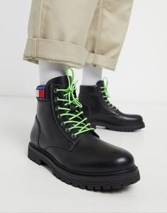 Черные кожаные ботинки Tommy Jeans-Черный