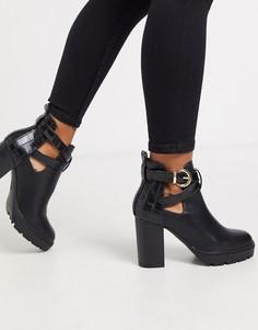 Черные ботинки на каблуке с пряжками New Look-Черный