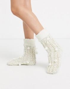 Кремовые носки-слиперы Hunkemoller-Белый