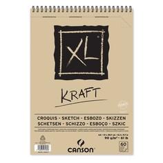 Альбом на спирали для графики Canson XL Kraft, коричневая бумага, , 21х29,7см, 60 листов