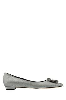 Серебристые туфли Hangisiflat Manolo Blahnik