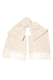 Бежевый шерстяной шарф с бахромой Fendi