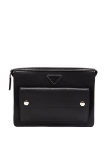 Черная сумка с накладным карманом Prada