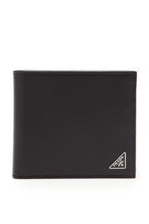 Складной кошелек черного цвета Prada