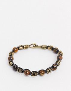 Браслет из полудрагоценных камней с черепами ASOS DESIGN-Черный