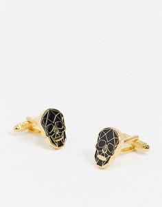 Золотистые запонки с черепом Twisted Tailor-Золотой