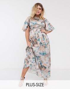 Платье макси с мраморным принтом и кружевной вставкой Little Mistress Plus-Мульти