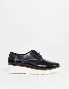 Черные кожаные туфли на плоской подошве с острым носом ASOS DESIGN-Черный
