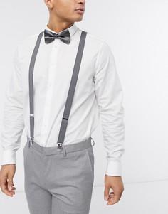 Серые подтяжки и галстук-бабочка ASOS DESIGN-Серый