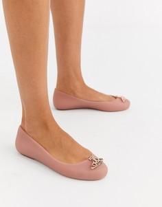 Бежевые туфли на плоской подошве с логотипом Vivienne Westwood for Melissa-Бежевый