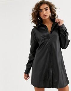 Черное платье-рубашка мини из искусственной кожи NA-KD-Черный