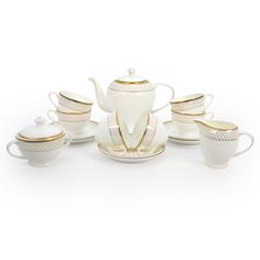 Чайный сервиз АККУ Искандер 15 предметов на 6 персон костяной фарфор