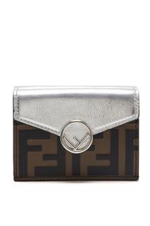 Серебристый кошелек в три сложения F is Fendi