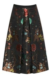 Черная юбка-трапеция из жаккардовой ткани Antonio Marras