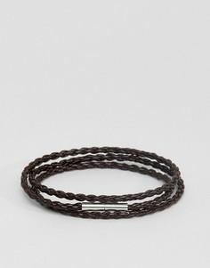 Коричневый плетеный кожаный браслет Seven London