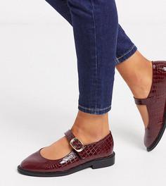 Бордовые туфли на плоской подошве с ремешком для широкой стопы ASOS DESIGN-Красный