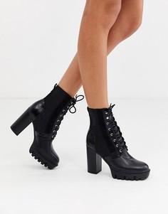 Черные походные ботинки на каблуке и шнуровке Miss Selfridge-Черный
