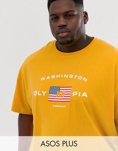 Oversize-футболка с принтом американского флага ASOS DESIGN Plus-Желтый