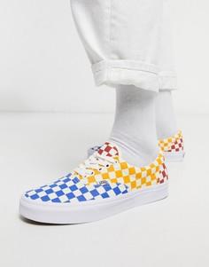 Белые скейтерские кеды в синюю и желтую клетку Vans Era-Мульти