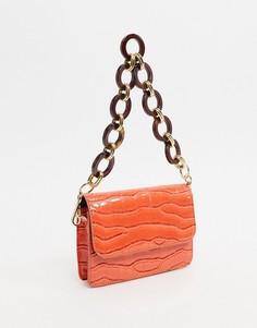 Оранжевая маленькая сумка с эффектом крокодиловой кожи ASOS DESIGN-Оранжевый