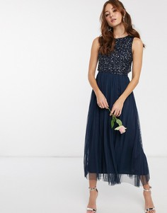 Темно-синее платье мидакси из тюля для подружки невесты без рукавов и с однотонным изысканными пайетками Maya-Темно-синий