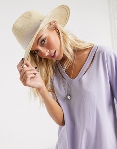 Соломенная шляпа со светлой лентой ASOS DESIGN-Коричневый