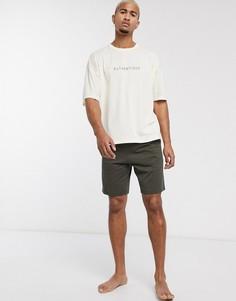 """Светло-бежевая пижама из oversize-футболки с надписью \""""authentique\"""" и шортов ASOS DESIGN-Мульти"""