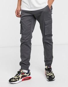 Серые узкие брюки-карго с манжетами Only & Sons-Серый