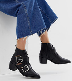 Ботинки с вырезами и пряжками Miss Selfridge-Черный