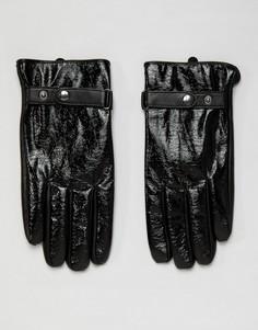 Черные кожаные перчатки с виниловым эффектом ASOS DESIGN-Черный