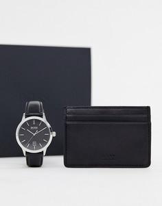 Подарочный набор из часов и кредитницы BOSS-Черный