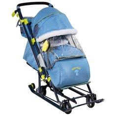 Санки-коляска Nika Ника Детям 7-7 (НД7-7) дизайн в джинсовом стиле синий