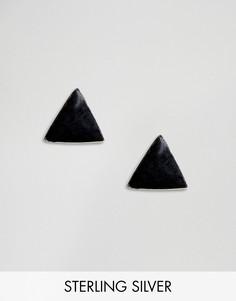 Серебряные серьги-гвоздики Kingsley Ryan-Черный