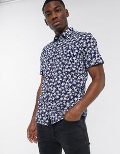 Рубашка с короткими рукавами и принтом Tom Tailor-Темно-синий