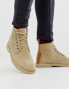 Светло-бежевые замшевые ботинки чукка с кожаной отделкой ASOS DESIGN-Светло-бежевый