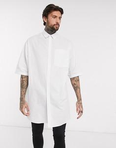Белая поплиновая oversized-рубашка с короткими рукавами ASOS DESIGN-Белый