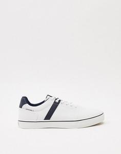 Белые парусиновые кроссовки с синими полосками Jack & Jones-Белый