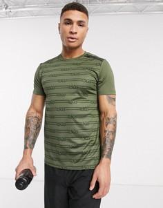 Спортивная футболка со светоотражающим принтом на спине ASOS 4505-Зеленый
