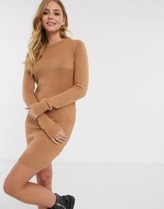 Бежевое платье-джемпер с круглым вырезом Brave Soul-Светло-коричневый