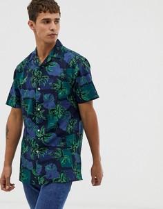 Темно-синяя рубашка с короткими рукавами и принтом пальм Tommy Hilfiger-Мульти