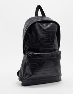 Черный рюкзак с эффектом крокодиловой кожи ASOS DESIGN