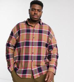 Рубашка в клетку с длинными рукавами COLLUSION Plus-Коричневый