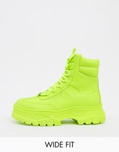 Неоново-зеленые ботинки для широкой стопы из искусственной кожи с массивной подошвой ASOS DESIGN-Зеленый