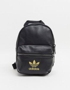 Черный рюкзак с золотистым логотипом-трилистником adidas Originals-Мульти