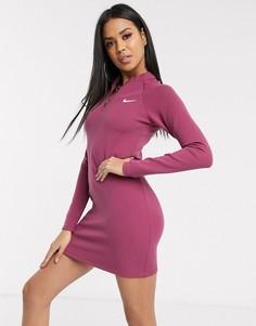 Платье мини с длинными рукавами Nike-Черный