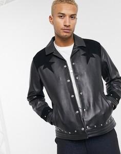 Черная кожаная куртка Харрингтон ASOS EDITION-Черный