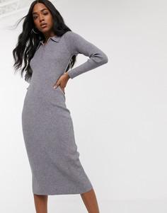 Трикотажное платье-поло миди Fashion Union-Серый